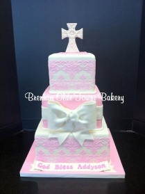 3 tier pink lace confirmation