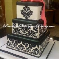 black damask wedding cake