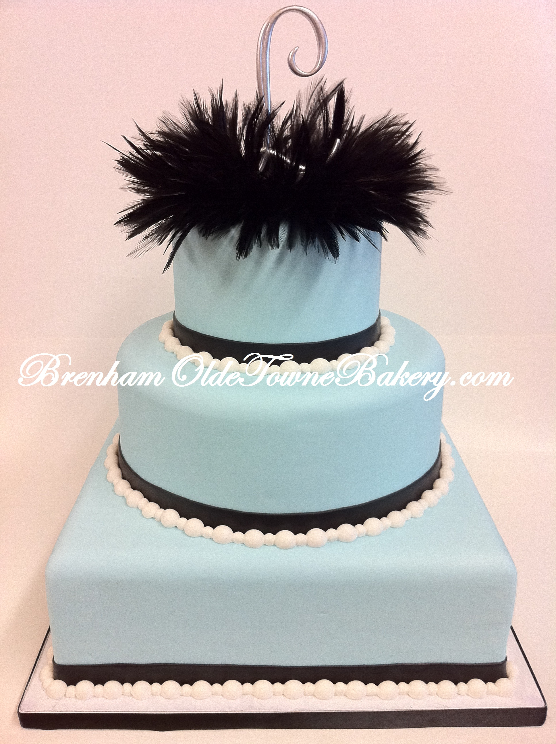 Black Feather Blue Wedding Cake Brenham Olde Towne Bakery