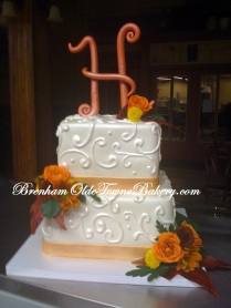 Fall Filigree Wedding Cake