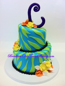 green & blue zebra birthday