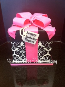 hot pink and black damask present