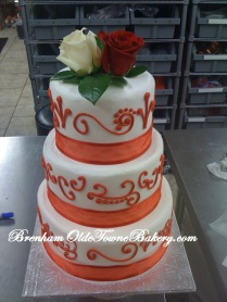 Red Filigree Wedding Cake