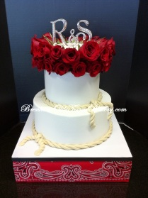 Red Rose Western Wedding Cake