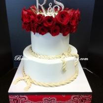 Red Rose Western Wedding Cake