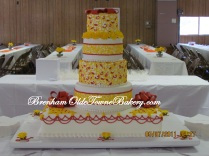Salmon & Yellow Wedding Cake