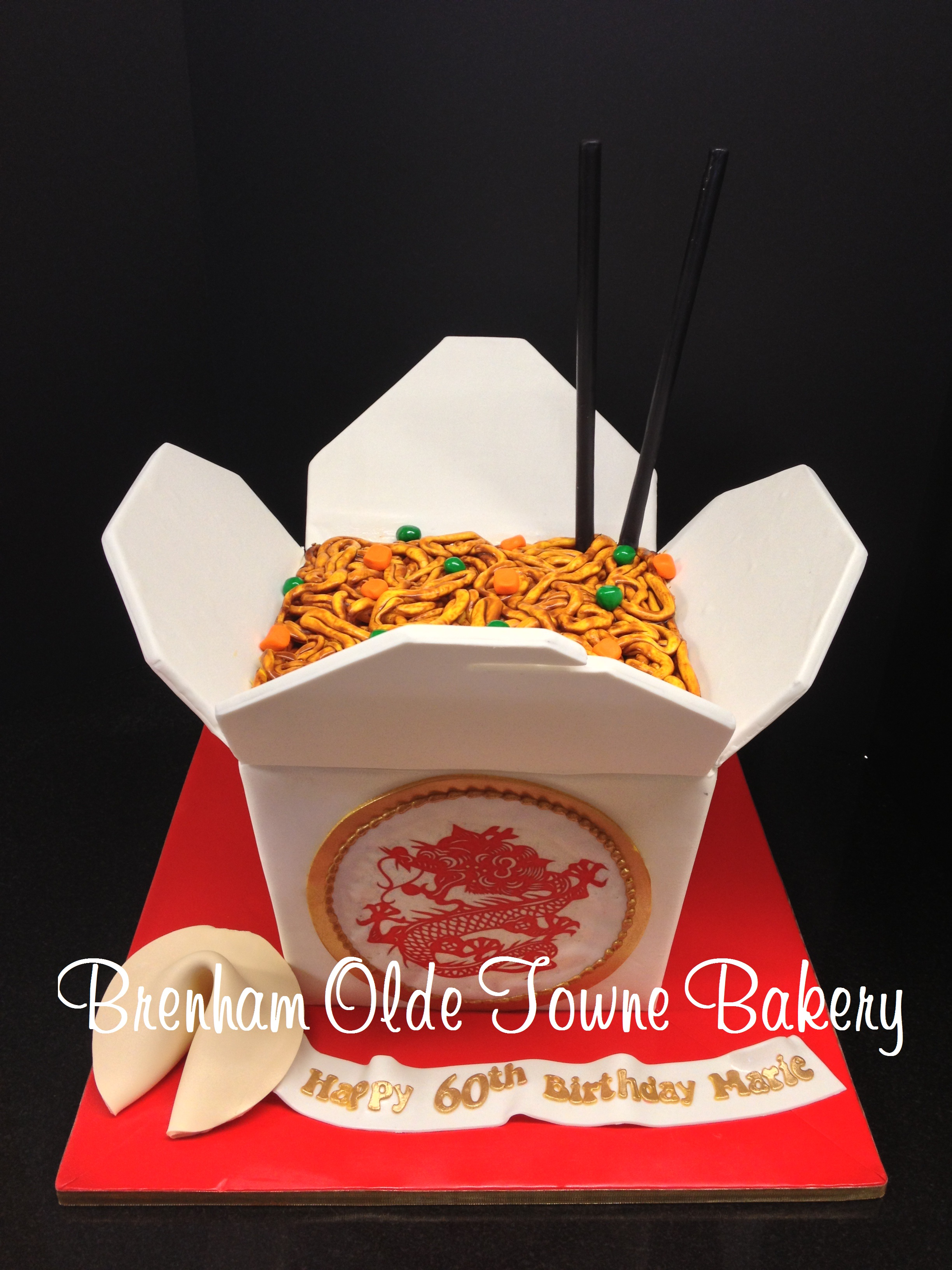 Chinese Take Out Box Cake Brenham Olde Towne Bakery