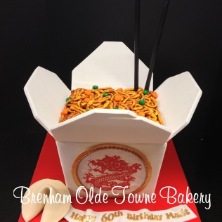 chinese take out box cake