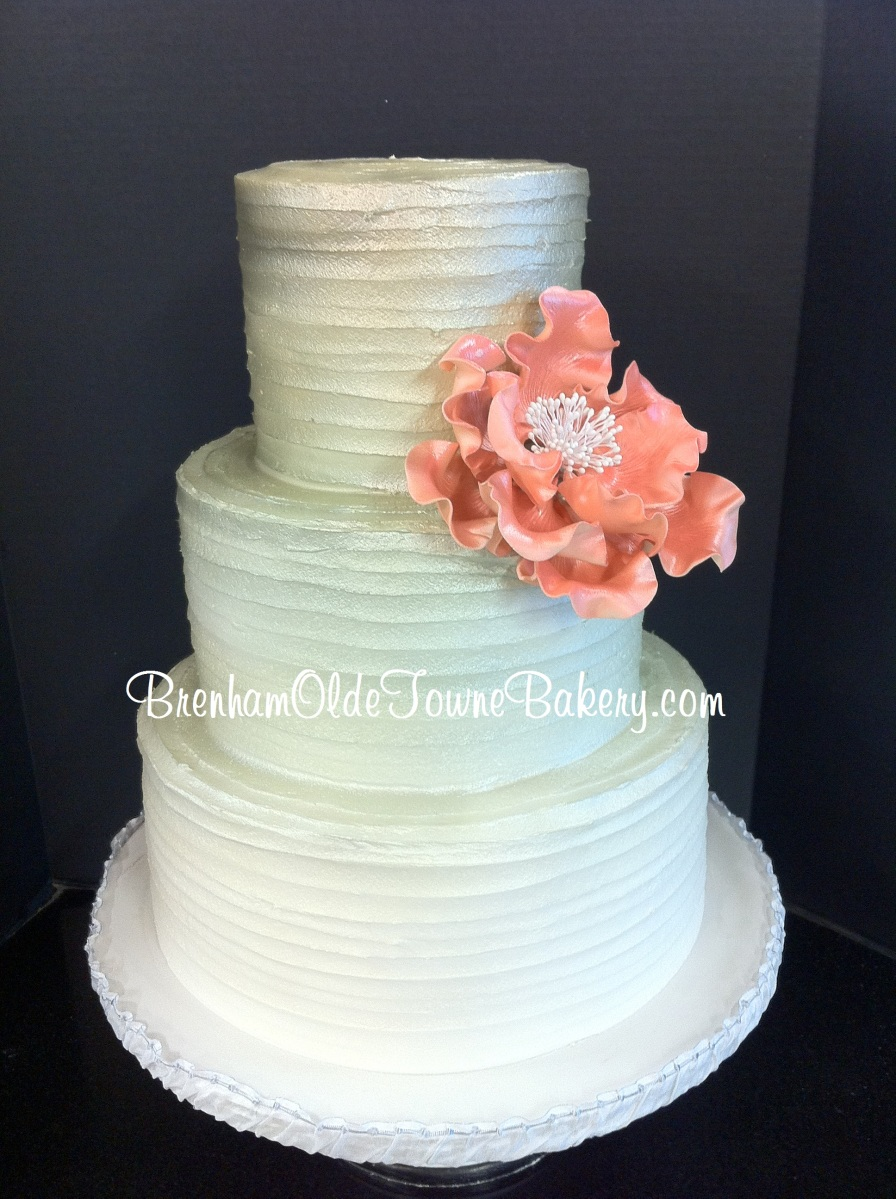 metallic ombre rustic buttercream wedding cake brenham olde towne