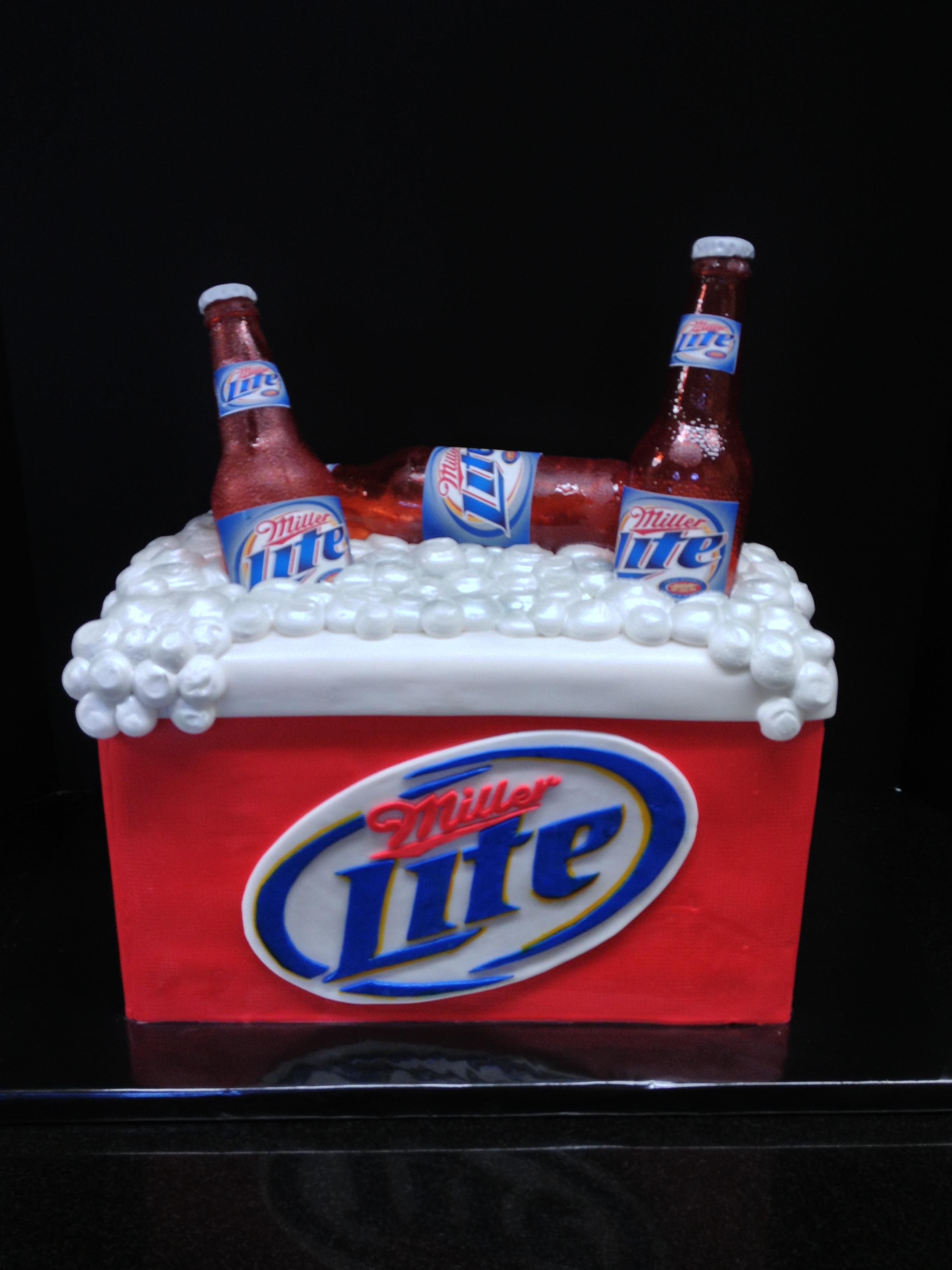 Miller Lite Ice Chest Birthday Cake Brenham Olde Towne Bakery