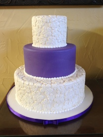 purple and glitter whimsy lace wedding cake