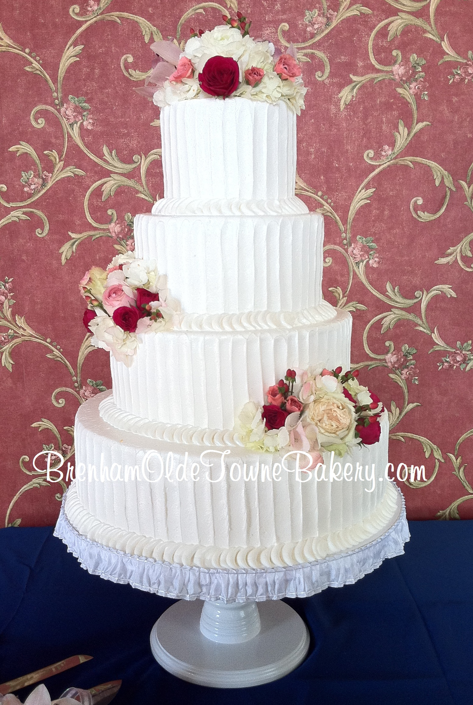 rustic buttercream fresh flowers wedding cake | Brenham Olde Towne ...