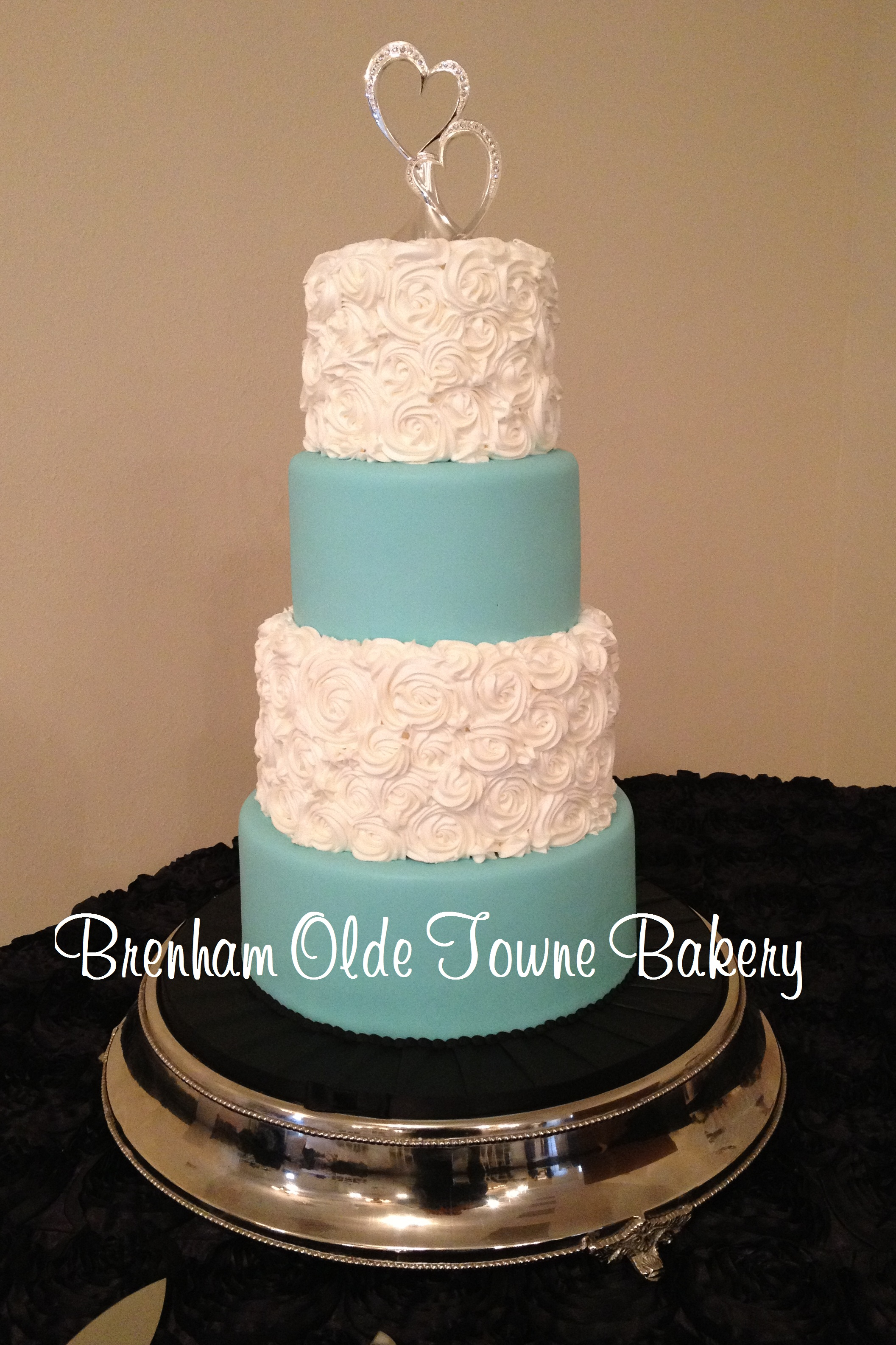 tiffany blue and pearl rosette cake