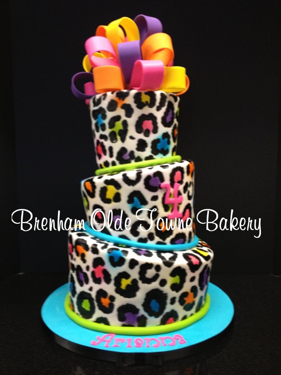 Animal Print Cake Images : Pin Topsy Turvy Neon Leopard Print Birthday Cake Brenham ...