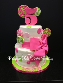 lime green and pink candy birthday cake