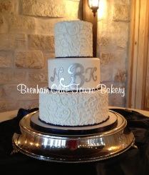 navy and white filigree wedding cake